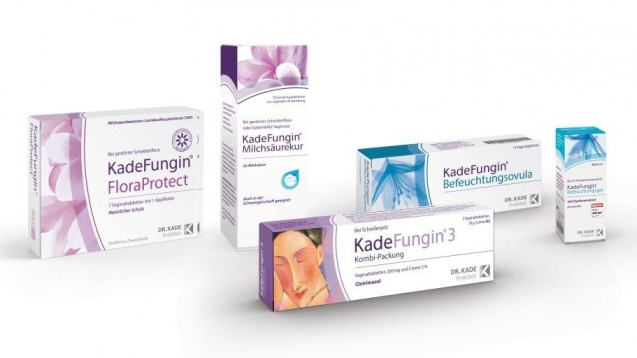 Dr. Kade will schrittweise die Packungen seines Kadefungin-Sortiments umstellen.Anhand von Motiv und Farbe soll zwischen verschiedenen Indikationen, aber auch zwischen Medizinprodukt und Arzneimittel, unterschieden werden können. (r / Foto: Dr. Kade)