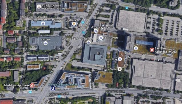 Zwei Apotheken liegen im Tatgebiet: Die Hauptapotheke SaniPlus im OEZ (rechts) ist Teil des Olympia Einkaufszentrums. Die MediPlus Apotheke liegt in unmittelbarer Nachbarschaft (links unten). Oben die McDonald's-Filiale. (Foto: Screenshot Google Maps)