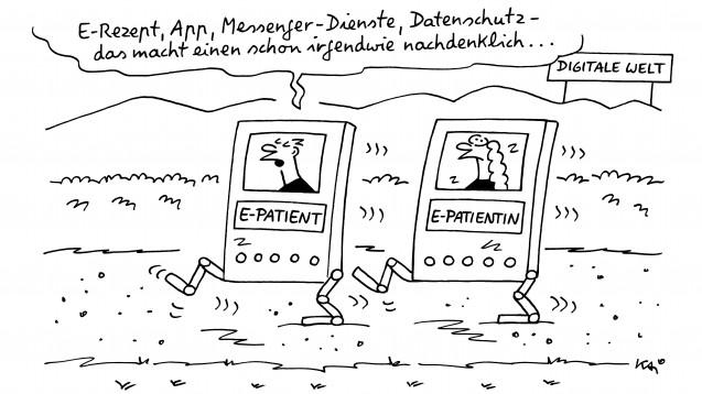 Der Cartoonist Kai Felmy hat sich mit Blick auf die aktuellen Entwicklungen in der Gesundheitspolitik mit dem Thema E-Rezept befasst. (s / Cartoons: Kai Felmy)