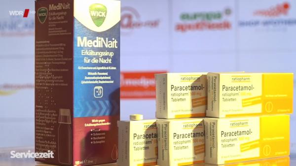 Wick MediNait plus fünfmal Paracetamol: Wie schlagen sich die Versender?