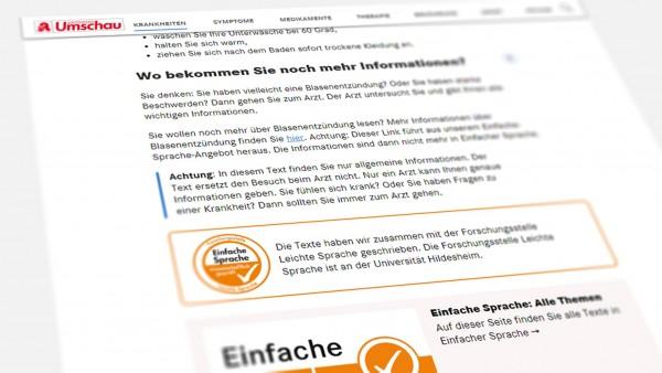 """Umschau: Gesundheitsinfos jetzt auch in """"Einfacher Sprache"""""""