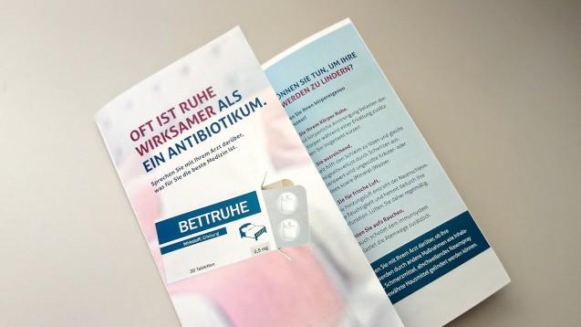 """""""Oft ist Ruhe wirksamer als ein Antibiotikum. Sprechen Sie mit Ihrem Arzt darüber, was für Sie die beste Medizin ist."""" Patienten-Flyer wie diese lagen in den letzten Wintern in vielen Wartezimmern aus. (Foto: DAZ.online)"""