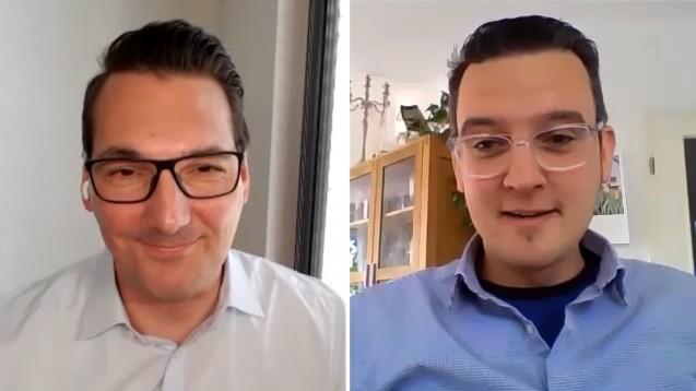 """Mit Apotheker Steffen Kuhnert (l.) als Interviewpartner startet DAZ.online-Chefredakteur Benjamin Rohrer ins neue DAZ.online -Video-Format """"Face-to-Face"""". ( s / Foto: DAZ.online)"""
