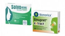 SolvoHexal enthält die gleichen Drogen wie Sinupret. Laut Sinupret-Hersteller Bionorica, war es das dann aber schon auch mit den Gemeinsamkeiten. (Bild: Hexal / Bionorica / Montage: DAZ.online)