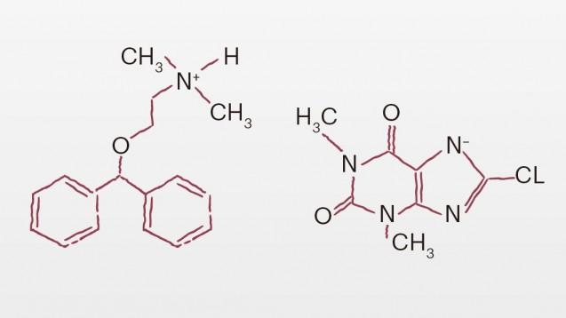 Diphenhydraminund 8-Chlortheophyllin bilden Dimenhydrinat. (Quelle: DAZ.online)