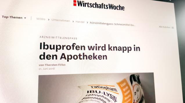 Die Wirtschaftswoche berichtet über den Ibuprofen-Engpass. (Abbild: wiwo.de)