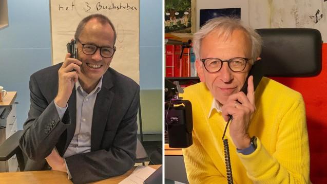 Apotheker Florian Wehrenpfenning und Peter Ditzel im Gespräch beim DAZ.online-Podcast. (s / Fotos: privat)