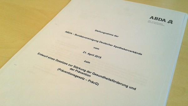 ABDA schickt Stellungnahme an Bundestag
