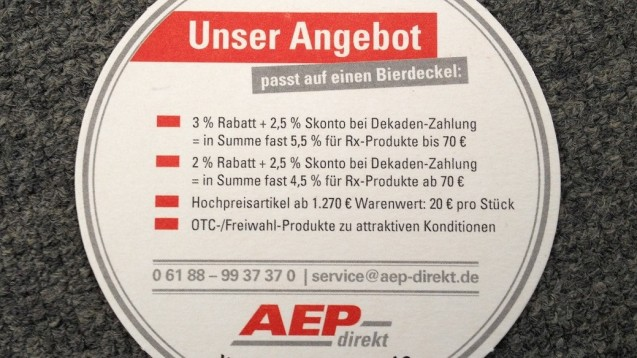Die AEP-Konditionen passen zwar auf einen Bierdeckel - der Wettbewerbszentrale passen sie aber gar nicht. (Foto: DAZ)