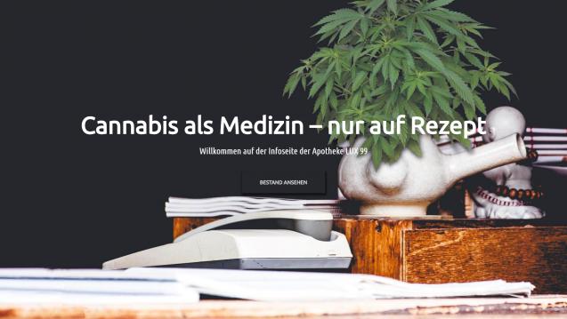 Die Lux-Apotheke aus Hürth hat sich auf die Versorgung von Cannabispatienten spezialisiert. (c / Bild: Screenshot)