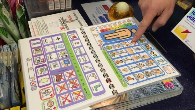 Bildersprache für die Apotheke bietet das UKAPO-Ringbuch. (Foto: C.v.O. Universität Oldenburg / Erdélyi)