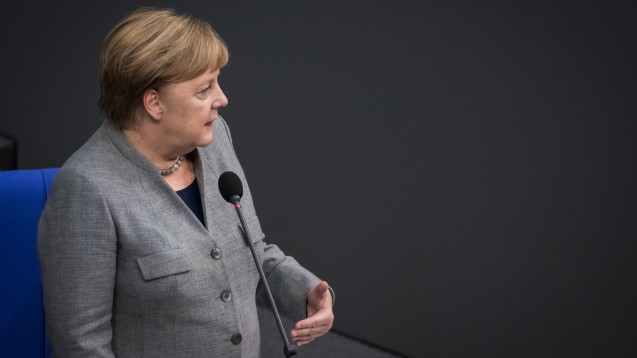 Bundeskanzlerin Angela Merkel hat am heutigen Mittwoch im Bundestag auf die geplanten Ausnahmeregelungen zur Bonpflicht hingewiesen. (s / Foto: imago images / Spicker)