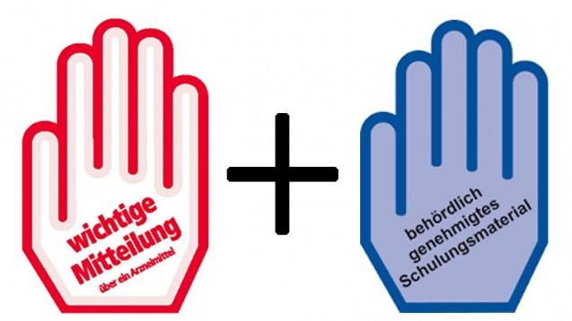 Ab sofort: Rote Hand informiert über Sicherheitsrisiken, die blaue kennzeichnet behördlich genehmigtes Schulungsmaterial. (Foto: Johannes Hilbert / DAZ.online)