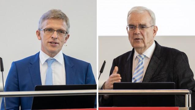 Die Juristen Dr. Elmar Mand (li.) und Prof. Dr. Hilko J. Meyer – hier bei der Interpharm 2019 in Stuttgart – haben sich umfassend mit der Frage befasst, ob Spahns Apotheken-Gesetzentwurf hält, was er verspricht. (c / Foto: Schelbert)