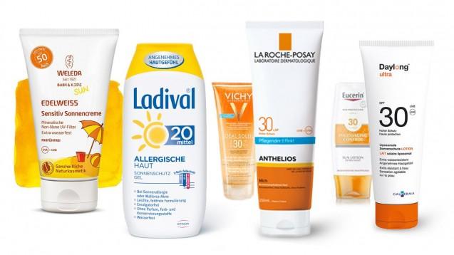 Welchen Sonnenschutz aus der Apotheke findet Ökotest am besten? (Foto: Packshots Weleda / Stada / L'Oréal / Beiersdorf / Spirig)