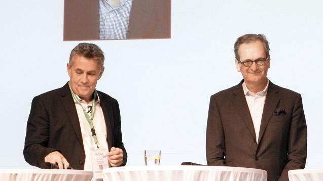 Zur Rose-Chef Walter Oberhänsli (re.) und BVDAK-Chef Stefan Hartmann beim Kooperationsgipfel in München. (Foto: diz)