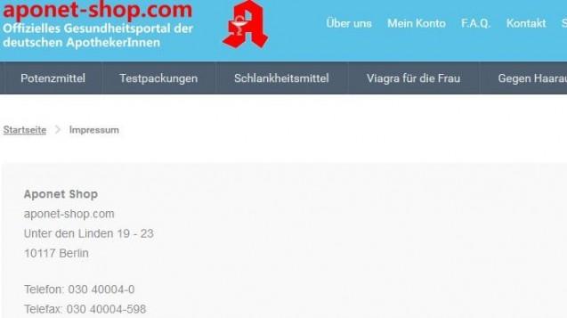 Die Versandapotheke der ABDA? aponet-shop.com gibt an, seinen Hauptsitz in den Büroräumen der ABDA zu haben. (Screenshot: DAZ.online)