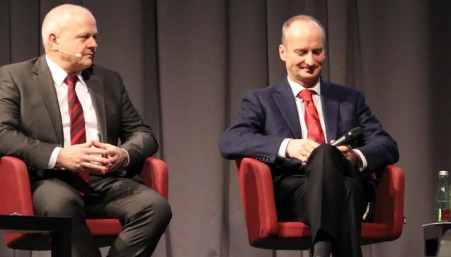 ABDA-Präsident Friedemann Schmidt (li.) und BAK-Präsident Andreas Kiefer musten sich auf dem Pharmacon in Schladming heftige Vorwürfe gefallen lassen. (Alle Fotos: DAZ.online)