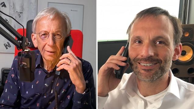 Peter Ditzel (l.) im Gespräch mit Apotheker Lorenz Weiler. (Fotos: privat)