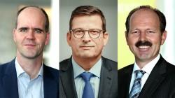 Michael Heckmeier (l.) wird Leiter des Geschäfts mit Displaymaterialien bei Merck, Friedhelm Felten (Mitte) übernimmt von ihm die Leitung des Pigmentgeschäfts und Joachim Christ (re.) folgt Felten als Chief Procurement Officer. (Fotos: Merck)