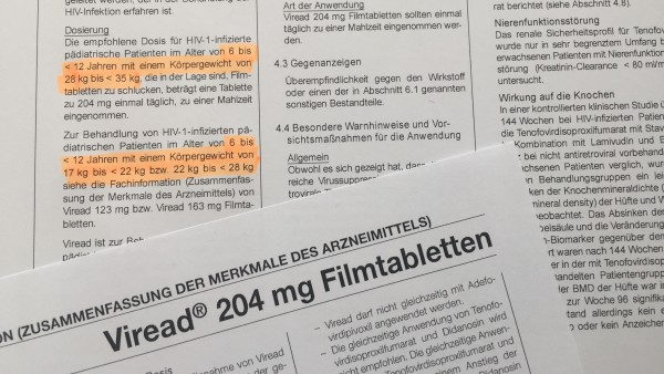 Falsche Dosierungsangaben bei Viread 204mg