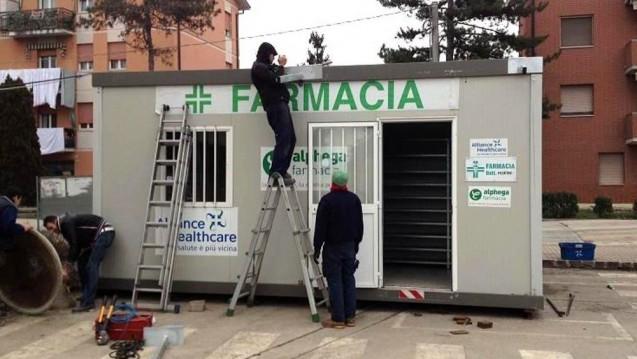 So oder so ähnlich könnten die Container-Apotheken aussehen, die in der mittelitalienischen Erdbebenregion aufgestellt werden. Hier ein Beispiel aus Modena. (Foto:ModenaToday)