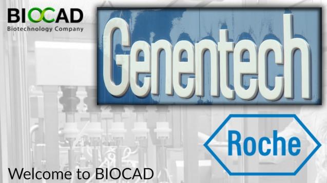 """Biocad zu dem Zwist mit Roche """"Roche und Genentech betreiben in Russland eine räuberische Preispolitik, indem sie die betreffenden Arzneimittel zu verlustreichen Preisen verkaufen."""" (Foto:Rajiv Patel / Flickr [CC BY-SA 2.0]   Screenshot:http://www.biocadglobal.com/  Montage: DAZ / jh)"""