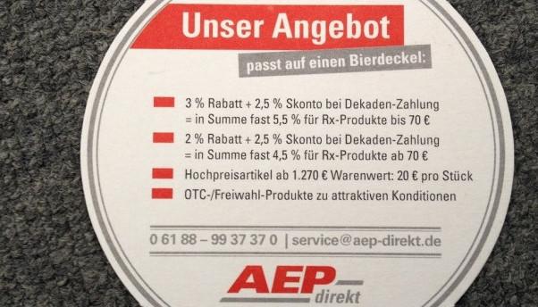 AEP warb zu Beginn damit, dass die Konditionen auf einen Bierdeckel passten. (Foto: wes)