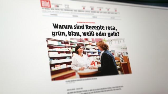 Deutschlands auflagenstärkste Tageszeitung erklärt die Apothekenwelt (m / Foto: Screenshot).