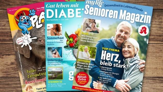 So könnten die neuen Hefte des Zukunftspakts aussehen, das Kinder- und das Diabetesheft sollen ab Oktober in den Apotheken liegen. (Foto: Burda Media)