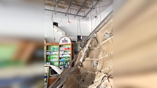 Die Rathaus-Apotheke im sächsischen Pirna ist fast vollständig zerstört, weil es einen wasserbedingten Deckeneinsturz gab. ( r / Foto: privat)