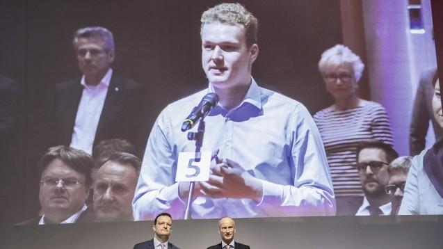 Der Pharmaziestudent Benedikt Bühler - hier beim DAT 2020 - sieht das Rx-Versandverbot im Aufwind. (Foto: DAZ / Armin Edalat)
