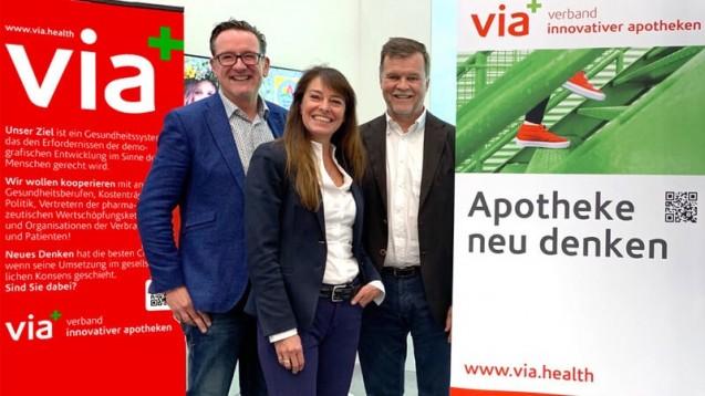 Drei der vier via-Vorstände. Von links nach rechts: Thomas Anthes (Vorsitzender), Dr. Ann-Katrin Gräfe-Bub (Stellv. Vorsitzende), Arndt Lauterbach (Schatzmeister). (b/Foto: via)