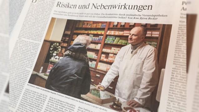 ABDA-Präsident Friedemann Schmidt auf Seite 3 der FAZ: In dem Artikel werden die Apotheker als Traditionalisten bezeichnet. (m / Foto: DAZ.online)