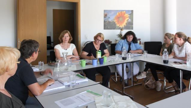 Geteilter Meinung: Die Grünen-Politikerinnen Kerstin Andreae und Kordula Schulz-Asche (Mitte) diskutierten mit mehreren Apothekern über Höchstpreise. (Foto: Andreae)