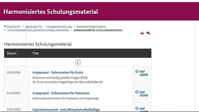 Auf der Homepage des BfArM finden Fachkreise und Patienten Schulungsmaterial. (Foto: Screenshot ( DAZ)