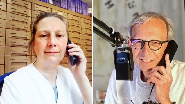 Apothekerin Andrea Kern, Vorstandsmitglied der LAKT, spricht mit DAZ-Herausgeber Peter Ditzel über die KIndernotbetreuung für Apotheker in Thüringen. (c / Foto: diz)