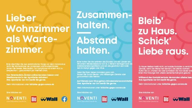 Der Apotheken-Dienstleistungskonzern Noventi hat seine Anti-Corona-Initiative nun auf Facebook und auf Wall-Medien ausgeweitet. (Foto: Noventi/DAZ.online)