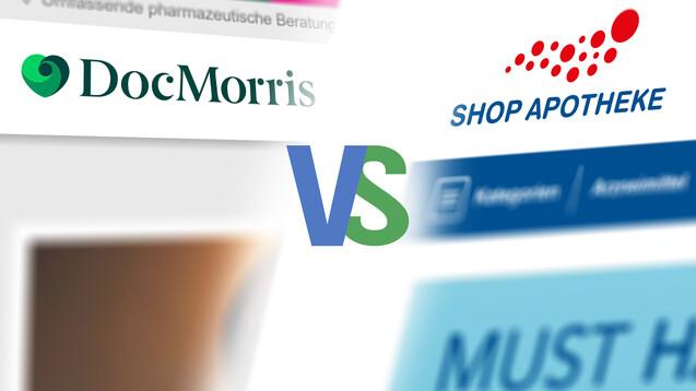 Welche Strategien verfolgen DocMorris und Shop Apotheke? (x / Screenshots: docmorris.de, shop-apotheke.com / DAZ)