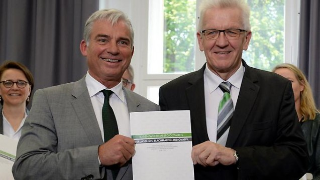 Apotheken erhalten: Der neue Koalitionsvertrag in Baden-Württemberg von Ministerpräsident Winfried Kretschmann (Grüne, links) und Thomas Strobl (CDU) bleibt gesundheitspolitisch vage. (Foto:dpa)