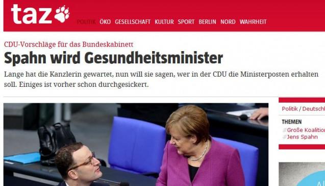 """""""Spahn wird Gesundheitsminister"""" - sehr neutral titel die taz. (foto: Screenshot taz)"""