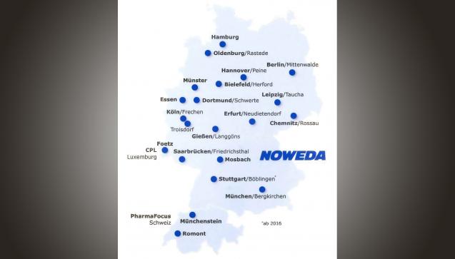 Insgesamt 17 Niederlassungen betreibt die Noweda nun in Deutschland. Stuttgart/Böblingen im Zentrum Baden-Württembergs ist die jüngste. (Grafik: Noweda)