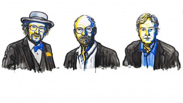 Die diesjährigen Medizin-Nobelpreisträger Jeffrey C. Hall, Michael Rosbash und Michael W. Young. (Bilder: Niklas Elmehed / Nobel Media AB 2017)