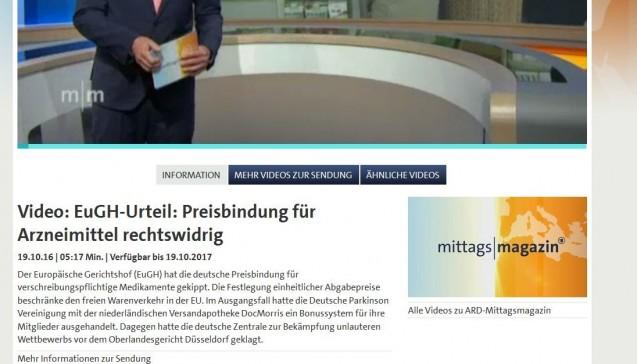 """Das ARD-""""Mittagsmagazin"""" interviewte den ABDA-Präsidenten Friedemann Schmidt, den Apothekenrechtler Elmar Mand und den omnipräsenten """"Apothekenexperten"""" Gerd Glaeske. Der Bericht wird mit """"Paukenschlag"""" angekündigt, kommt dann aber ganz am Ende des einstündigen Magazins. """"Ein Urteil, das Nebenwirkungen haben wird"""", wird die Entscheidung kommentiert, """"Es gibt Rückenwind für die Online-Apotheken, aber Gegenwind für die Apotheke nebenan."""" Mand erklärt das Urteil, Schmidt stellt die Sichtweise der Apotheker dar – und Glaeske fällt den Vor-Ort-Apotheken in den Rücken. Zwar mache die Preisbindung durchaus Sinn, """"aber Wettbewerb kann den Preis nicht ausnehmen"""". Die Gefahr eines Apothekensterbens sieht Glaeske nicht, die Versender bezeichnet er als Teil der Regelversorgung, die Patienten und die Krankenkassen könnten sparen."""
