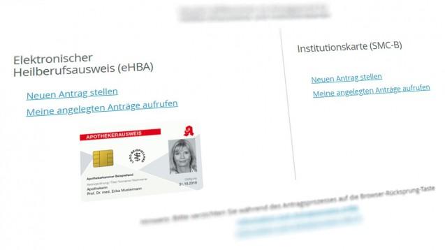Mit dem eHBA können sich Apotheker persönlich in der Telematikinfrastruktur authentifizieren und elektronische Dokumente qualifiziert unterschreiben sowie EMails signieren und ver- und entschlüsseln. (x / Screenshot: ehealth.d-trust.net/antragsportal/)