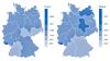 Je dunkler, desto kränker: Altersstandardisierte  Sterberaten je 100.000 Einwohner an Krebs gesamt nach Bundesland 2012 –2014. <sub>(Quellen: RKI/Destatis)</sub>