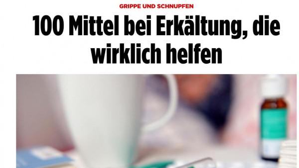 Was empfiehlt die Bild-Zeitung bei Erkältung?