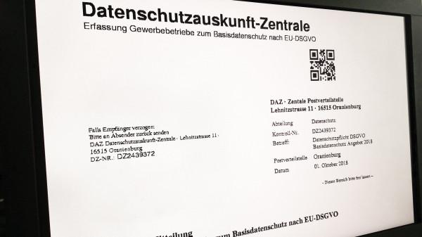 """Betrugsverdacht: Fax der """"Datenschutzauskunft-Zentrale (DAZ)"""""""