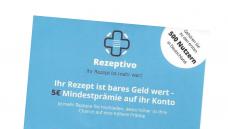 """Ein heikler Rx-Bonus: In Berliner Apotheken lagen Flyer von """"Rezeptivo"""" aus, die mit Prämien für Fotos von Rezepten warben, wenn Patienten diese auf der Internetseite des Dienstes hochladen. DAZ.online liegt der Flyer als Scan vor. (Screenshot: DAZ.online)"""
