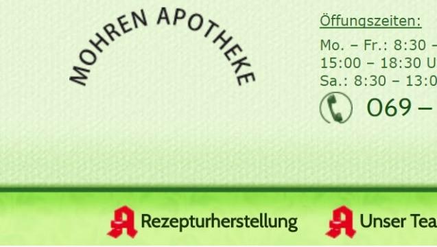 Der Internetauftritt der Mohren Apotheke: Unter dem Schriftzug ist kein Logo mehr zu sehen. (Screenshot: mohren-apotheke-frankfurt.de)